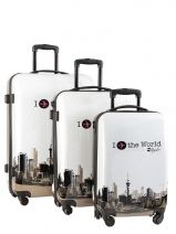 Koffer 2 Wiel Travel Wit print shinny 5002-LOT