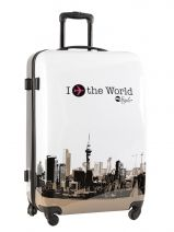 Koffer 2 Wiel Travel Wit print shinny PT5002-L