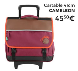 Cartable roulettes cameleon rouge
